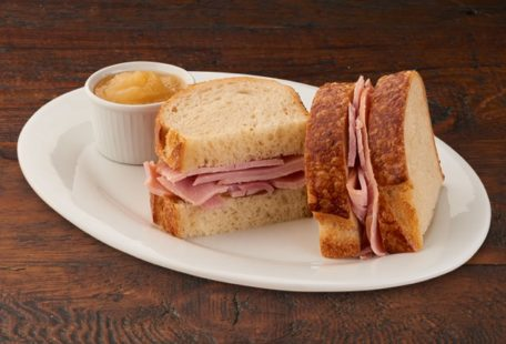 Kids ham sandwich on sourdough with applesauce