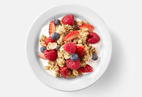 Bowl of Greek vanilla yogurt, crunchy granola and fruit