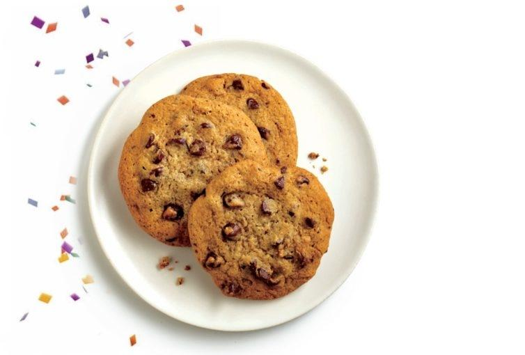 Chocolate chip cookies on plate with party confetti falling