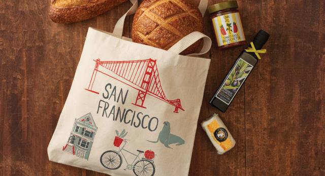 San Francisco canvas tote, sourdough bread, Bruschetta, Extra Virgin Olive Oil and Honey Goat Cheese