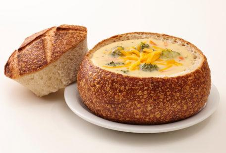 Broccoli Cheddar Soup in a Sourdough Bread Bowl