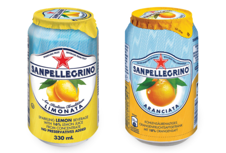 Cans of San Pellegrino